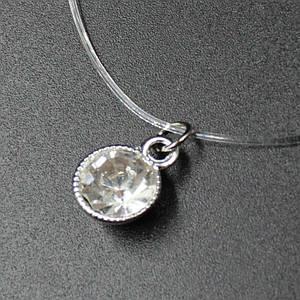 Колье камушек на силиконовой нити хрустальный белый камень 40х8 см