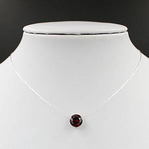 Колье камушек на силиконовой нити хрустальный красный камень 40х8 см