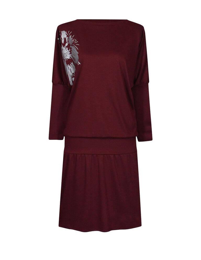 Бордовое удобное платье с рукавом летучая мышь