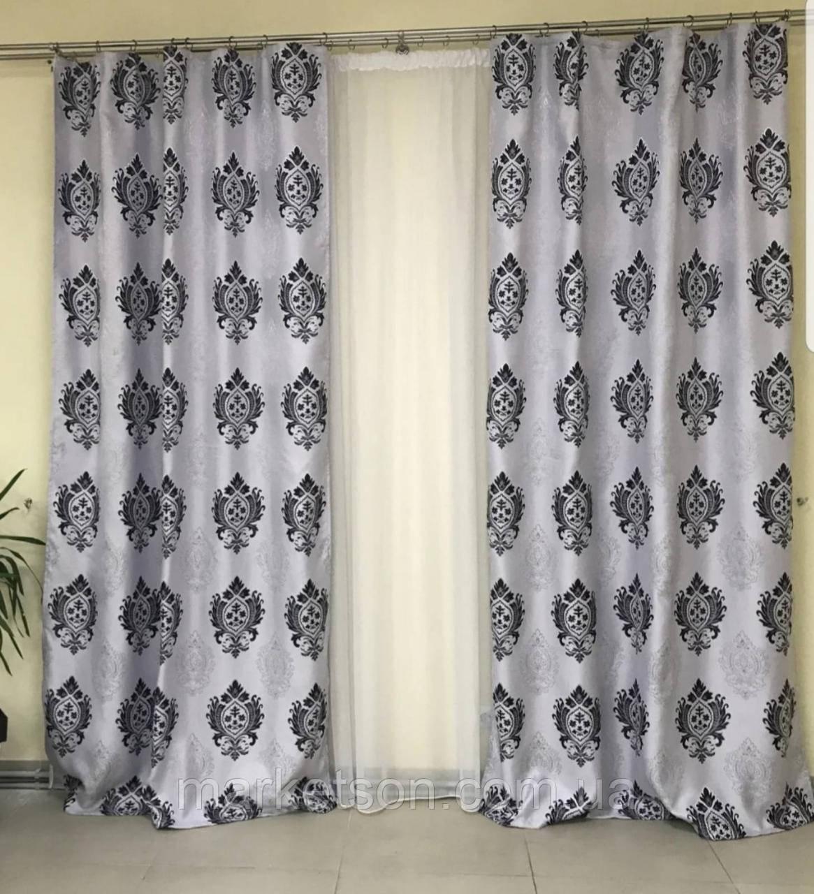 Готовые шторы Лен Блэкаут для спальни или гостинной 1,5х2,7.Корона