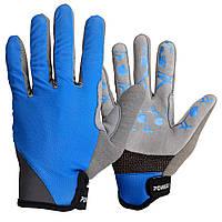 Велорукавички PowerPlay 6566 XL Сині КОД: 6566_XL_Blue/Grey