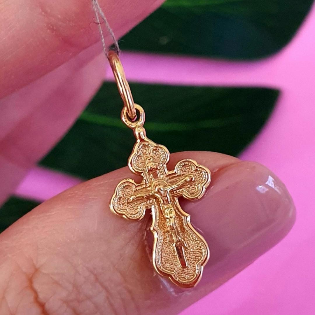 Маленький золотой крестик на крещение - Православний золотий хрестик