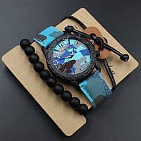 """3 в 1 Мужские часы + 2 браслета """"Shimon Blue"""""""