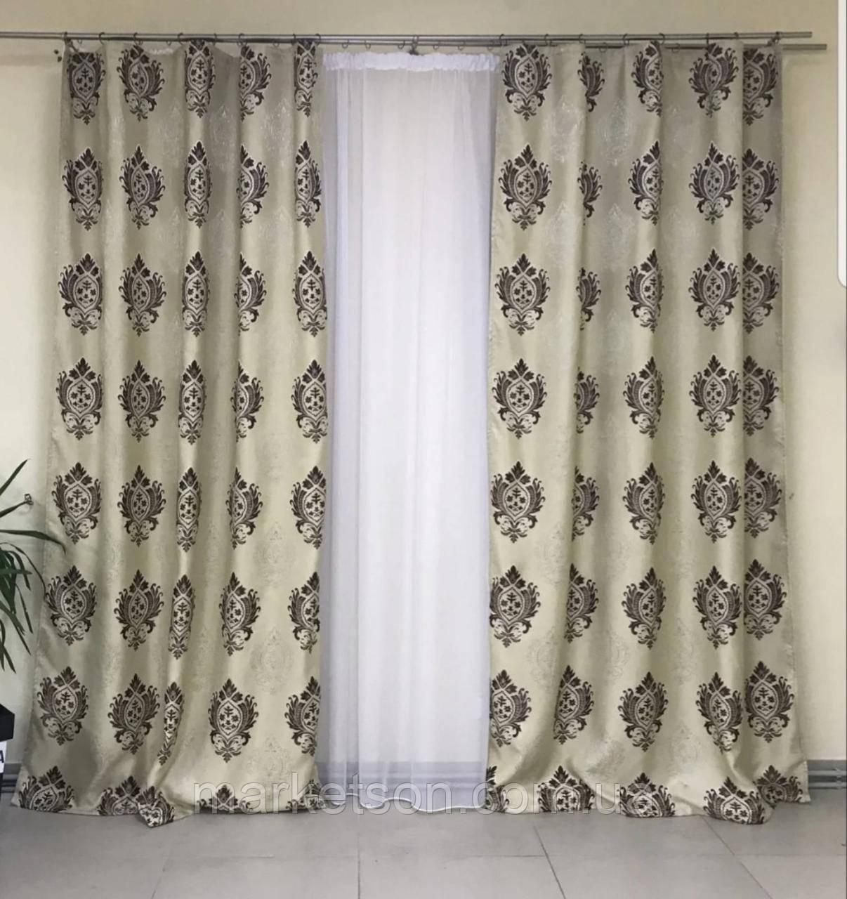 Готові штори Льон Блекаут для спальні або вітальні 1,5х2,7.Корона