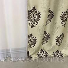 Готові штори Льон Блекаут для спальні або вітальні 1,5х2,7.Корона, фото 2