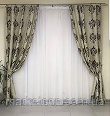 Готові штори Льон Блекаут для спальні або вітальні 1,5х2,7.Корона, фото 3