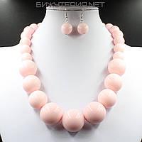 Комплект бижутерии Колье и серьги из искусственного жемчуга розового цвета - 1070350081