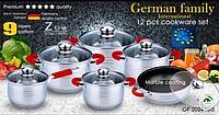 Набор посуды German Family GF-2024 красные силиконовые ручки 12 предметов, фото 1
