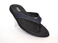 Вьетнамки шлепанцы кожаные синие мужская обувь больших размеров Rosso Avangard Flip Flops Blububle BS, фото 1