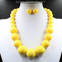 Комплект бижутерии Колье и серьги из искусственного жемчуга желтого цвета - 1070351758