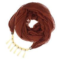 Шарф хомут женский коричневый  с декором  однотонный - 1093148584