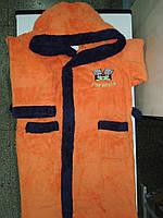 Халат махровый детский 8-9, 9-10 лет оранжевый 134