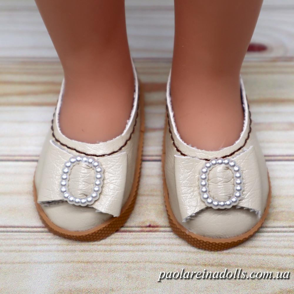 Туфли кремовые с бантиком для кукол Паола Рейна