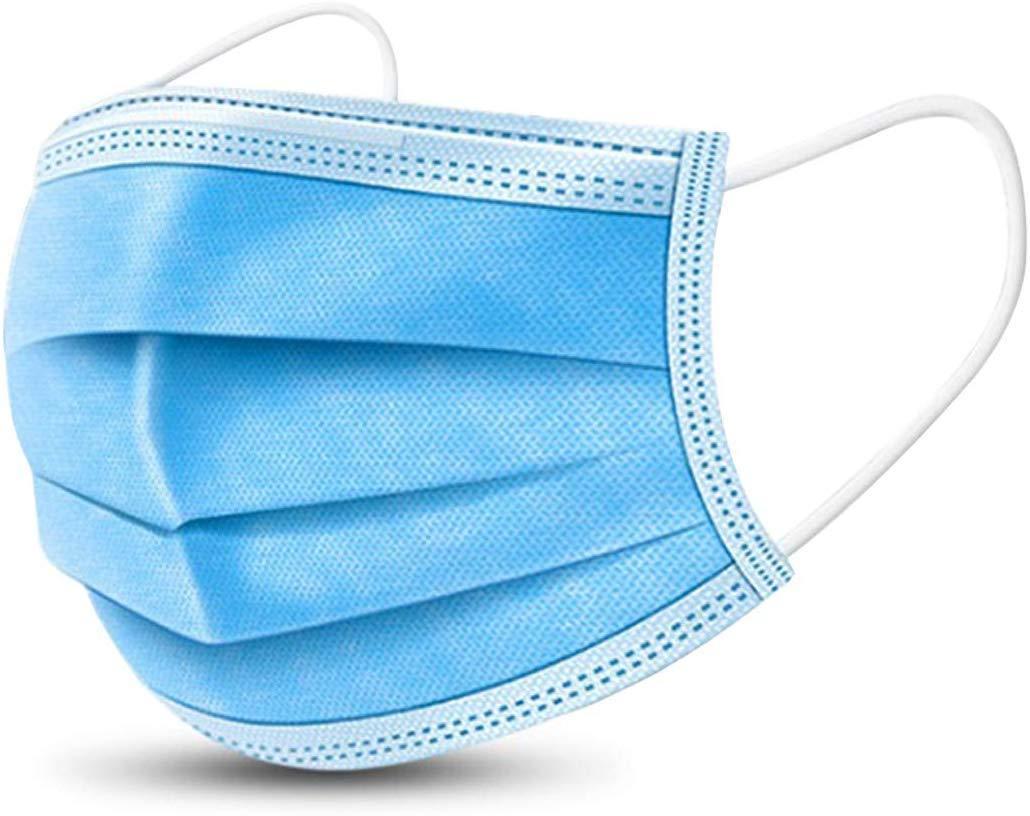 Маска защитная трехслойная MasK 10 штук Голубой. Защита от всех вирусов