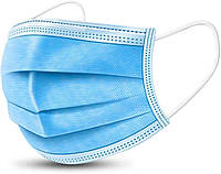 Маска защитная трехслойная MasK 10 штук Голубой. Защита от всех вирусов, фото 1
