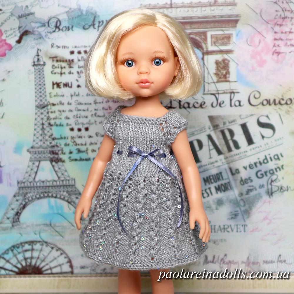 """Платье """"Вьюнок серебро"""" с паетками для кукол Паола Рейна"""