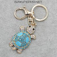 Брелок JB Черепашка металл золотого цвета с белыми и голубыми стразами - 1066645115