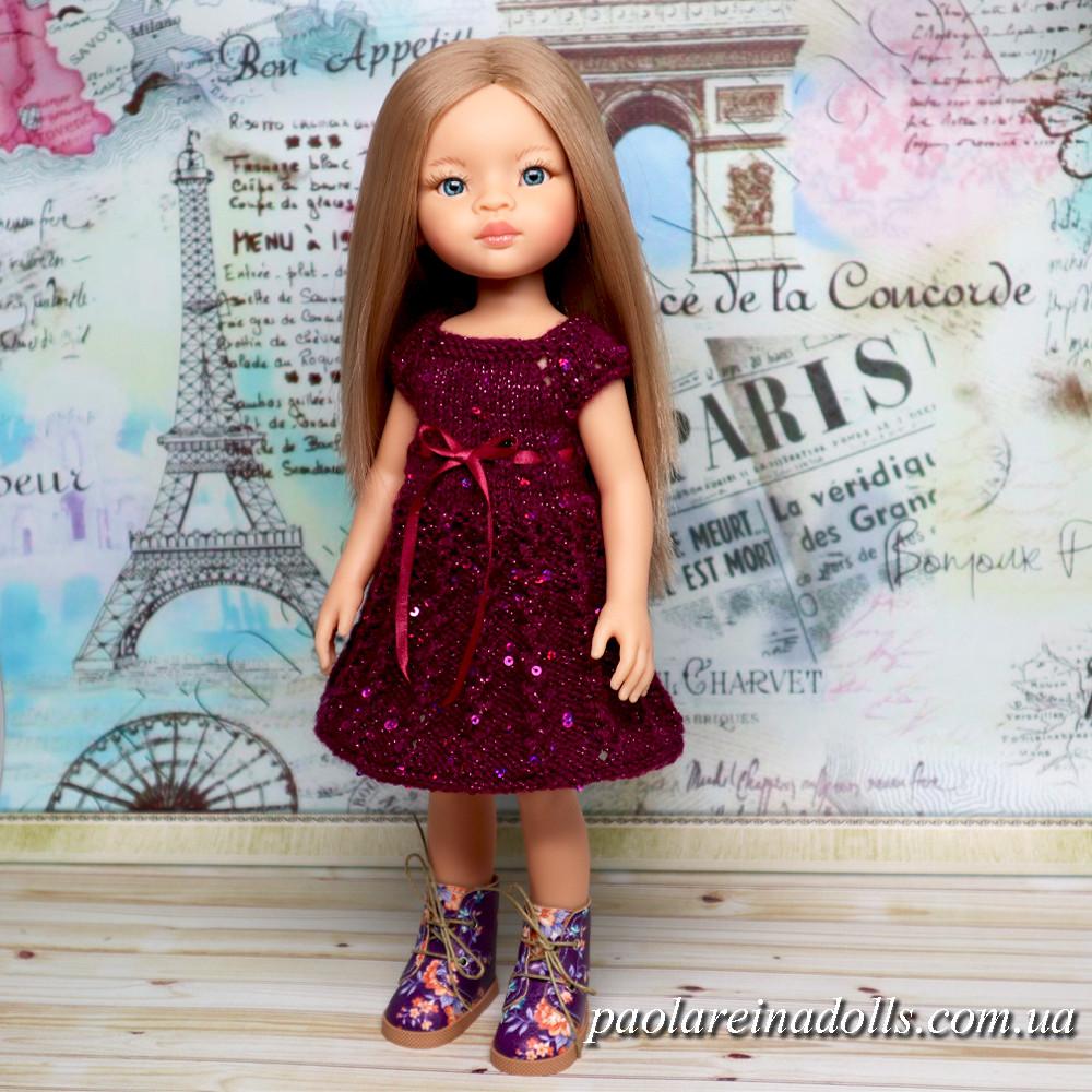"""Платье """"Вьюнок вишневый"""" с паетками для кукол Паола Рейна"""