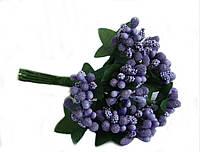 """""""Тычинки в сахаре"""" фиолетовые, искусственных на розетке листьев (1 набор - 12 веточек ), фото 1"""
