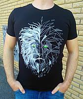 """Футболка мужская со светящимся в темноте рисунком """"лев"""" Стильная футболка с принтом светящимся в темноте"""