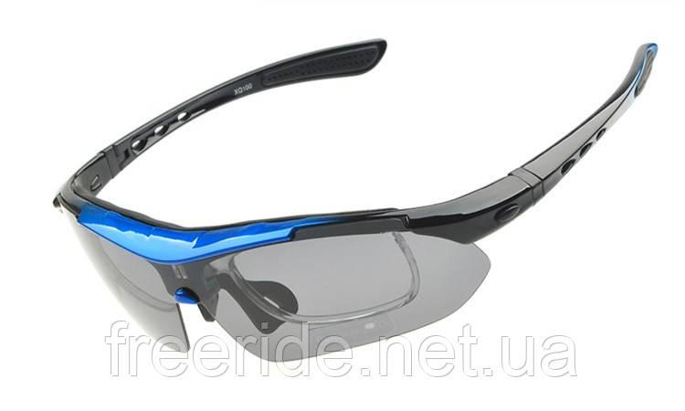 Спортивные UV400 велоочки (5 сменных линз) черно-синие