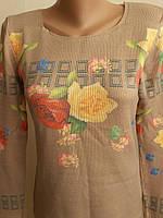 Вязаная кофта с цветами размер М