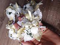 Свадебные бутоньерки набор 4 шт. Золото, фото 1