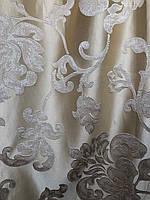 Штора атлас золото высота 3 м., вышивка цветы в зал/спальню/гостинную/кабинет