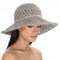 Шляпа женская из натуральной рисовой бумаги летняя серая 203-06