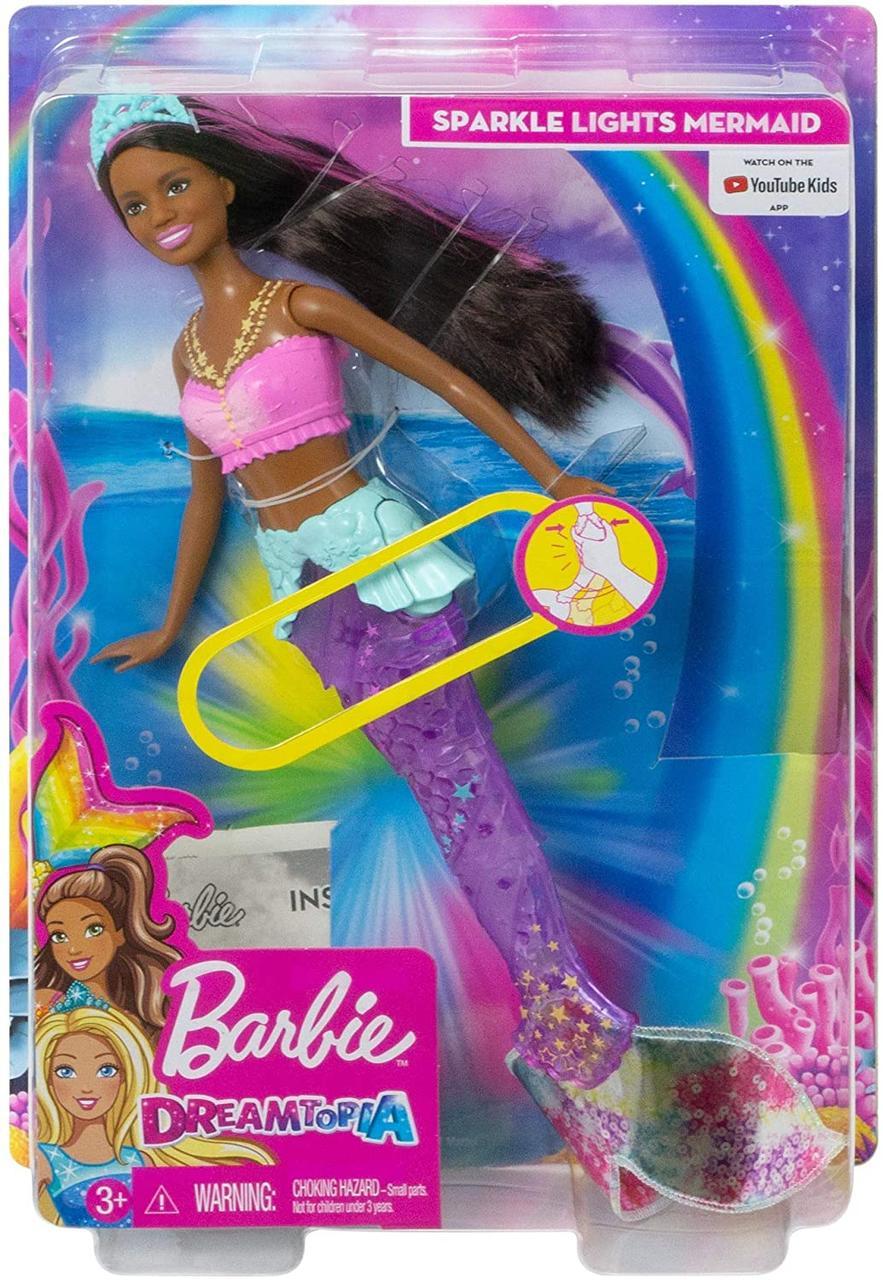 Уценка, повреждения коробки!Кукла Barbie-русалка Подводное Сияние Dreamtopia Sparkle Lights Mermaid