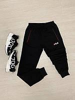 Мужские черные спортивные штаны на манжете Fila