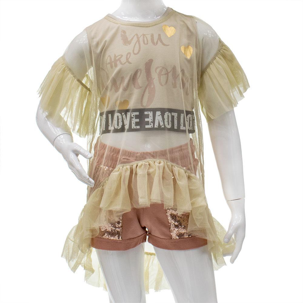 Комплект(шорты,топ,туника) для девочек West 122  бежевый 2005