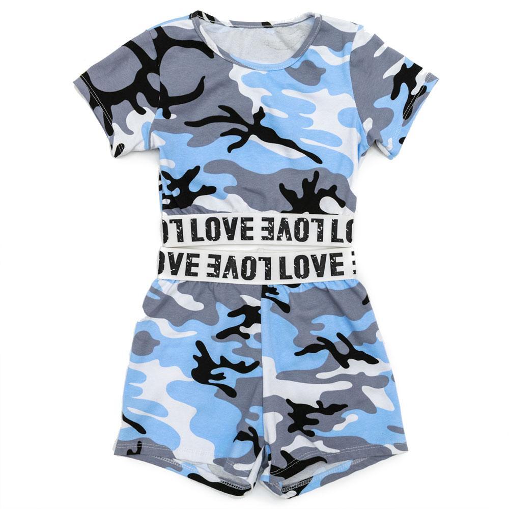 Комплект(футболка, шорты) для девочек Tiffany 110  голубой 980989