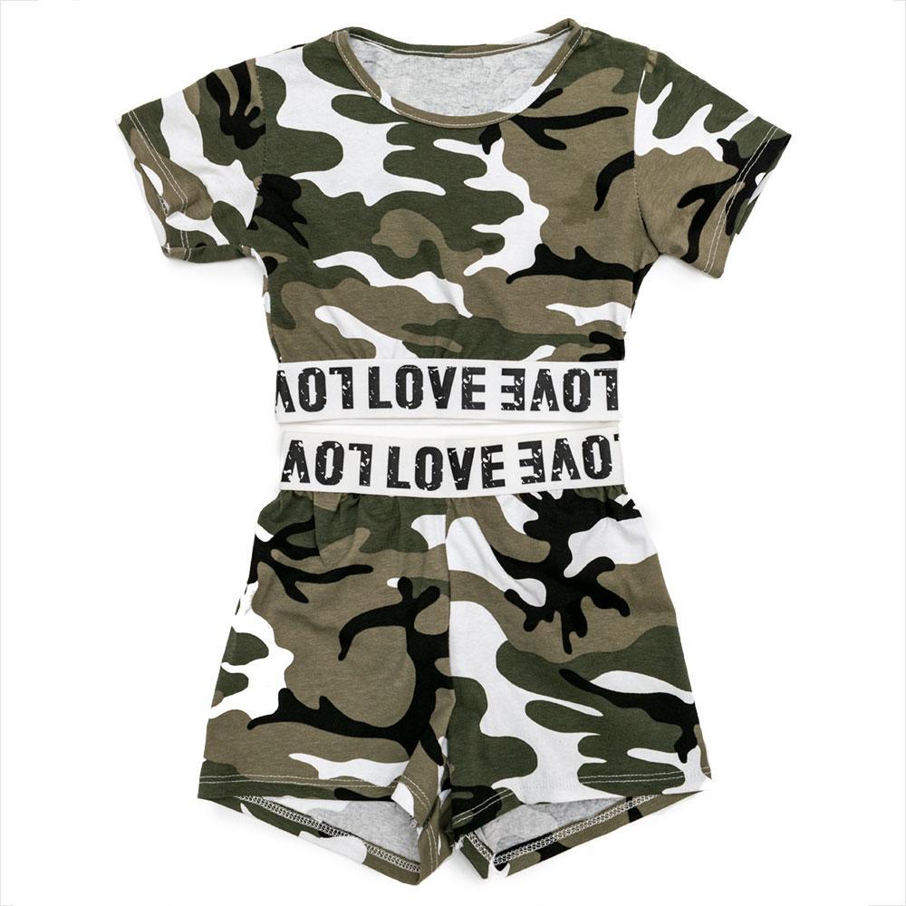 Комплект(футболка, шорты) для девочек Tiffany 110  хаки 980989