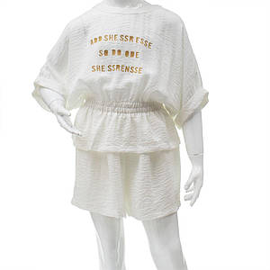 Комплект (блуза, шорты) для девочек Mimcar 140  белый 901299