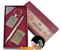 """Деловой набор """"Moongrass"""": брелок, ручка, зажигалка Jack Daniel's (Острое пламя) +подарочная упаковка"""