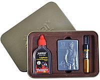 """Подарочный набор для мужчин """"Michael Jackson"""" №4717-3 3в1: металлическая зажигалка, бензин, мундштук"""