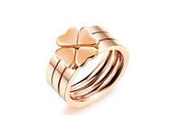 """Кольцо розовое золото """"Клевер"""" 7 из нержавеющей стали, фото 1"""