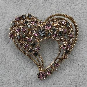 Брошка Серце 40х38 мм метал золотого кольору