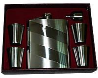 Подарочный набор с флягой для мужчин. В комплекте лейка и 4 стопки