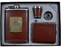 """Подарочный набор с флягой для мужчин """"Jim Beam"""" (фляга,портсигар,стопка,лейка)"""