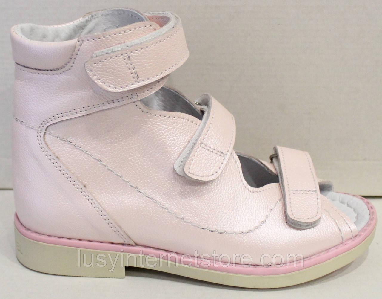 Туфли детские для девочки, кожаные, ортопедические на липучке от производителя модель СЛ52-11
