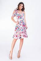 Платье короткое асимметрия арт. 164 персиковое с маками