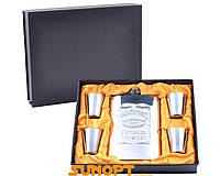 """Подарочный набор с флягой """"Jack Daniel's"""". Материал: металл/кожа. Низкая цена"""
