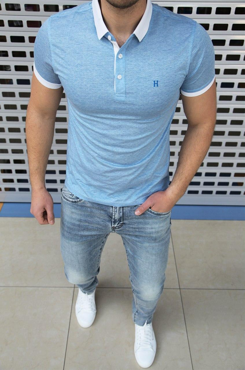 Мужская футболка поло Hermes H0459 голубая