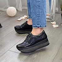 Кроссовки кожаные на стильной подошве, черная кожа/замша лазер