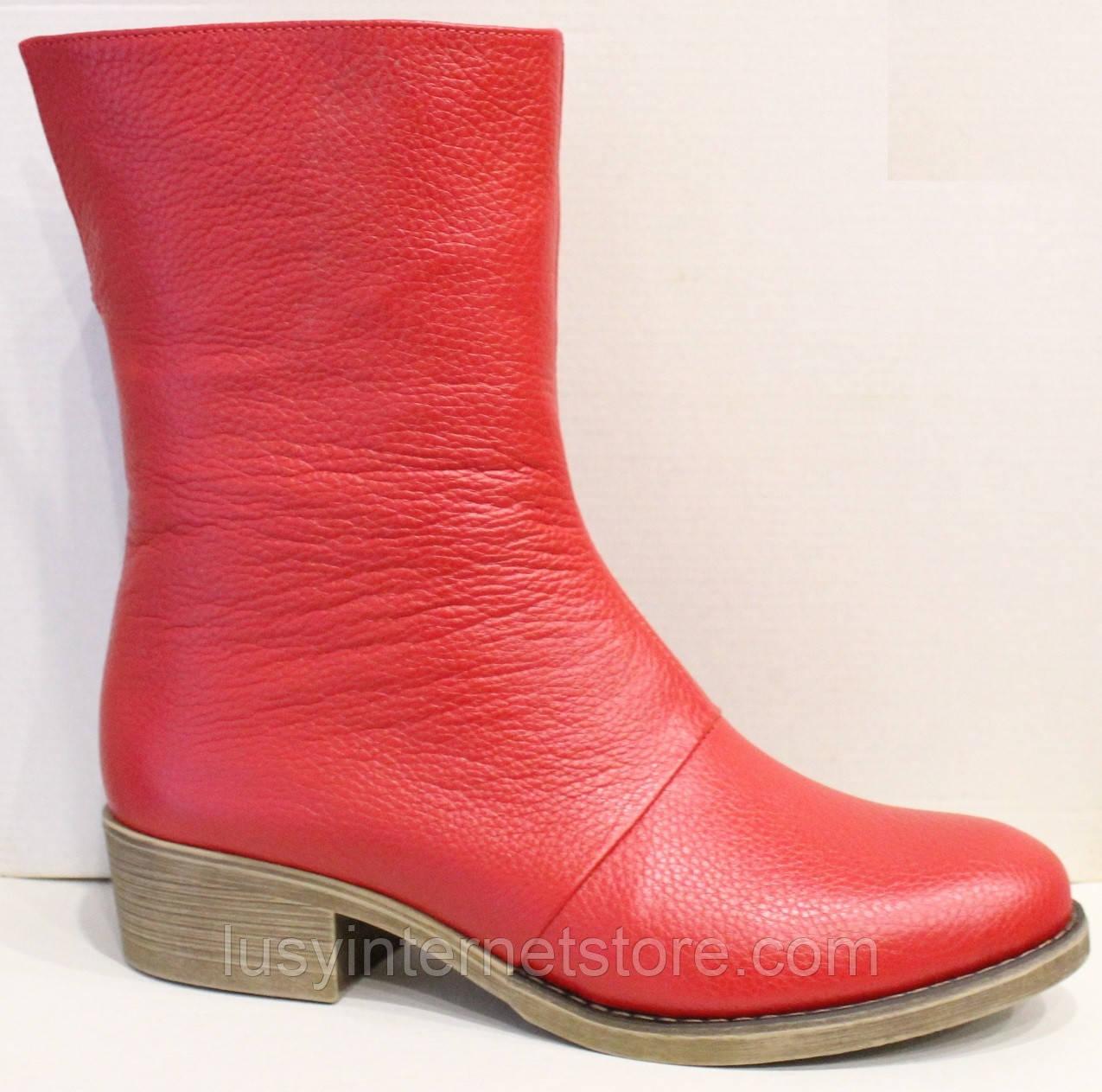 Сапожки женские кожаные красные от производителя модель РИ111М-1