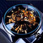 Часы Forsining Leader черные с золотистым циферблатом мужские механические часы скелетон, фото 5