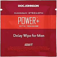Пролонгирующая и возбуждающая салфетка Doc Johnson Power+ Delay Wipe For Men с экстрактом йохимбе