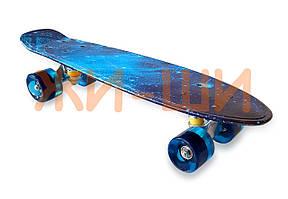 Пенни борд со светящимися колёсами iA009W нагрузка до 80кг с принтом 5+ / голубой